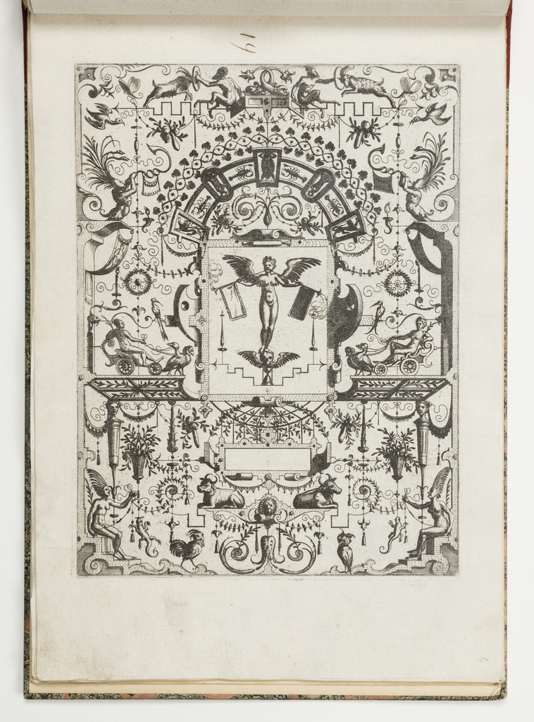 Grotesque panel. In center, a winged figure stands on a skull and hourglass, blowing two trumpets. She is flanked by two chariots pulled by birds.