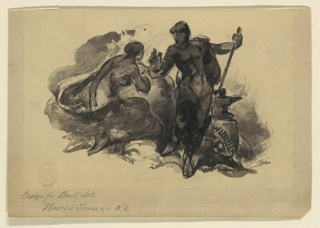 """A female blacksmith showing what may be a nail to another woman who is shown kneeling at left. The artist's monogram """"WS"""" is below, in clouds, at right."""