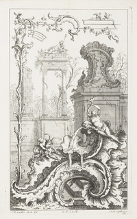 Lower section, large rocaille formation spewing water with reclining nude woman. Left, figure wrestling with ram. Above, ruins, figure with triton sitting atop entablature of two Corinthian columns, partial obelisque, decorative rocaille element on wall in tree-filled landscape. Left, figure growing out of tall plant holding fantastic border design.