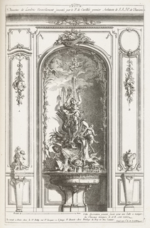 Interior niche with central fountain, flanked by putti and a vase, each on a pedestal. Large fountain resting on pedestal with masks. Fountain has nude female figure holding reins of a sea monster spewing water. Birds and satyrs decorate the upper portion of the fountain with reeds and other plants. Central female figure at top with arms raised spews water from mouth. In the sky, putto rides an eagle; above, grouping of fish, nets, eels, and a triton.