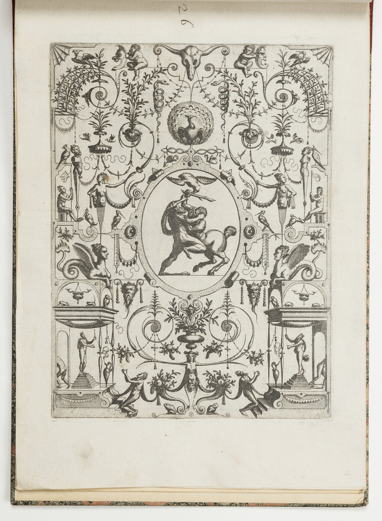 Grotesque panel. In center, an ovoid with Hercules battling Nessus.