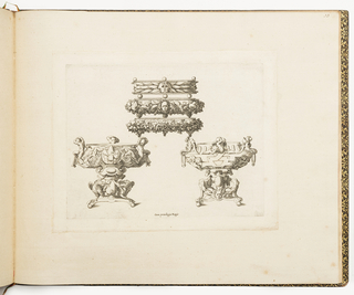 Fontainebleau school. Two designs for braziers and three designs for trays. The left brazier is decorated with Jupiter's eagles, ignudi and the flaming salamanders of François I; the right one is decorated with salamanders, a sun masks and amorous figures. The first tray is decorated with a mask and leaves; the second with a cherub head, fruits and vegetables and the last one with vine.
