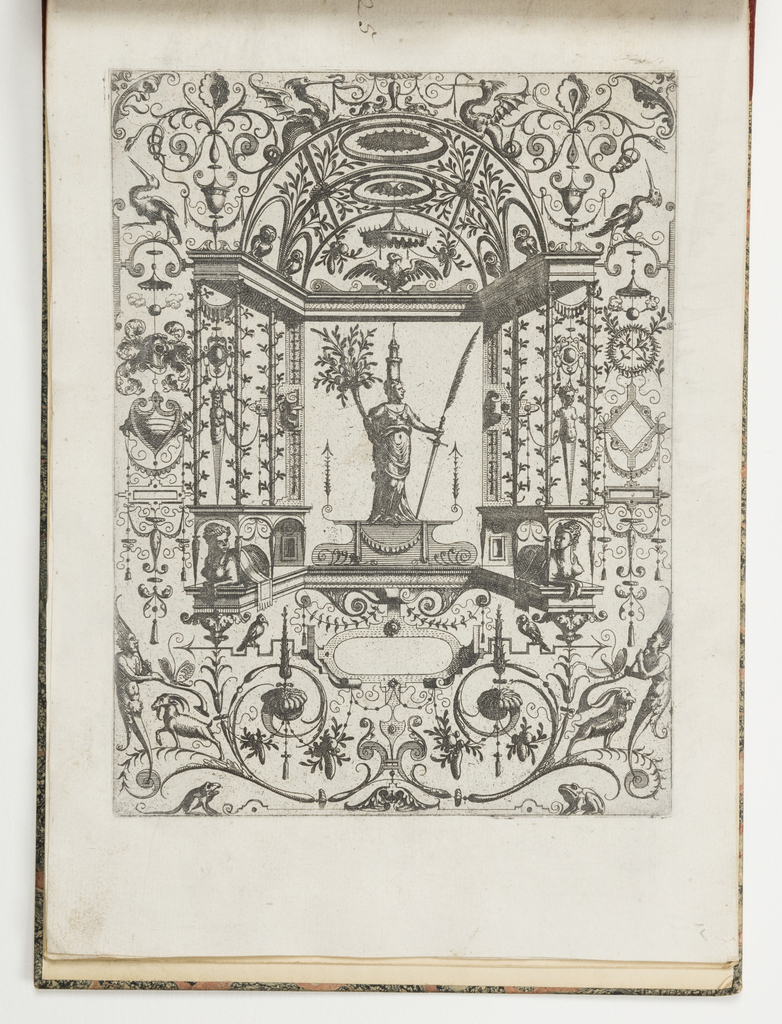 Grotesque panel. In center, a man with a tower rising from his head holds a horn of plenty in one hand and feater-topped sword in the other.