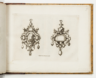 Design for two pendants. At left, strapwork surrounds a central faceted gem. Pearl drops hang from moon-shaped masks. At right, pairs of putti and breasted lions flank a central reserve. Below, a horned mask and large pearl.