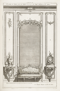 At center, settee in Rococo motif, flanked by side tables; left table with candelabrum and right with clock topped with Father Time holding hourglass and scythe. Left panel: A; right panel: B. Mirror in center framed with C-curves.