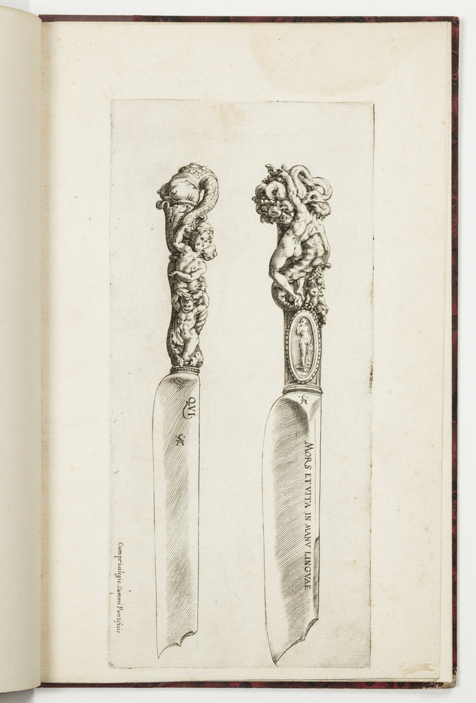 Two knives, their points facing downward. The carved handles show grotesque figures. At left, a woman supported by a putto kisses a human head held by a serpent-woman. At right, an oval medallion with a nude below a nude male with a cornucopia.