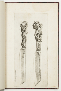 Two knives, their points facing downward. The carved handles show grotesque figures. At left, a woman supported by a putto kisses a serpent with a human face. At right, an oval medallion with a nude below a nude male with a cornucopia.