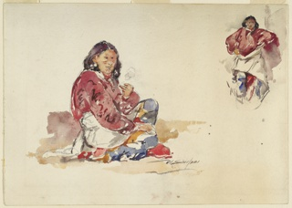 One boy is shown at left, sitting and turned toward right. In upper right corner, a standing youth, shown frontally without the feet.