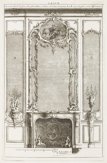 Fireplace with andirons in Rococo motif, shaped like flames. On left, pedestal supports candelabrum decorated with putti; on right, pedestal supports candelabrum with rocaille motif; behind each are mirrors, left: A; right: B. At center, a mirror framed with rocaille and leaf motifs; at top a mask and image of classical figure with hand on globe in landscape.