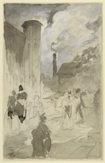 At left is the corner of an Italian Gothic church. A lighthouse rises in the background above a crenelated wall. At right are a house and a tree. Groups of people in fantastic attire are shown.