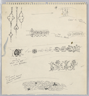 Sheet of sketches of design motifs.