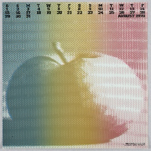 """Allover pixelated color gradient calendar design with a large apple. At top, The days of the week in black text with """"AUGUST 1970."""""""