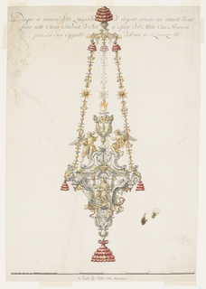 Design for a lamp to be executed in partly gilded metals.