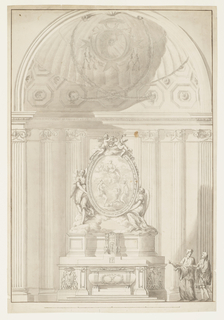 vertical format; made for a prelate connected with the Maltese order, and having a coat of arms - Priors of Malta (E. Kieven, 3/10/93) at top (framed by garlands in front of shell); in front of lateral panels of mensa and in the coach; the sepulchrum has the shape of a sar-cophagus, with a monogram of crossed P; the tabernacle is in middle of central part of altar; it serves as a base for standing angel, at left, and kneeling angel, at right; both have clouds beneath their feet; angels support the oval image of the Virgin in clouds, with St. John the Baptist and a saint bishop; on top of frame are two putti; walls of apse are decorated with pillars and embedded Ionic style and fluted columns; at right is a priest and a gentleman; two ink framing lines.