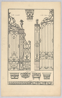 A variety of designs for ironwork including gates, capitals, and friezes.