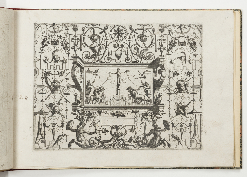 Grotesque panel. In center, a nude woman balances atop a columnar pedestal, atop a stepped podium. Her arms are stretched wide, and she holds a ring in each hand. The rings are tied to the reigns of quadrigae which flank the podium.
