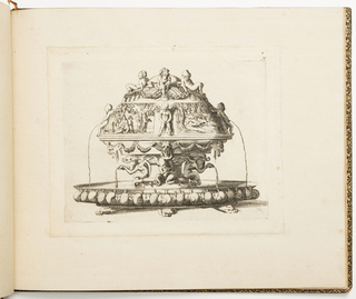 Fontainebleau school. Design for a metalwork fountain, the top decorated with children with tridents sitting on sea shells. Below, scenes of Acteon and Diana from Ovid's Metamorphosis are interspaces with urinating putti. The base decorated with masks, garlands and alternating snails and turtles.