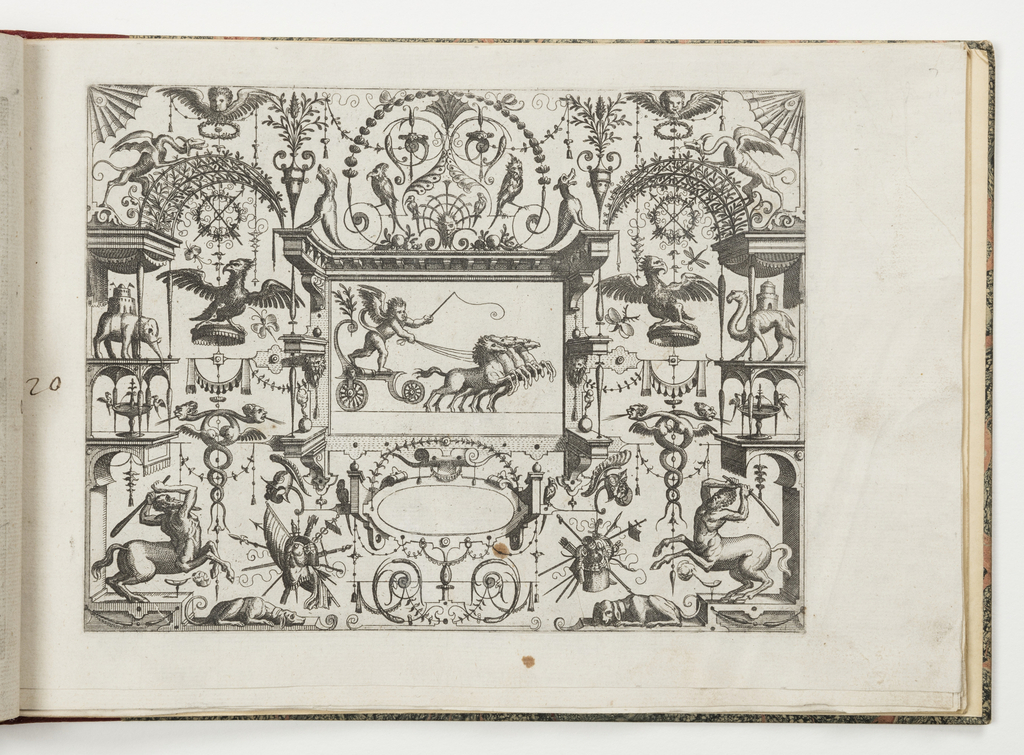 Grotesque panel. In center, a putto with a whip is pulled in a chariot by four horses. On either side, an eagle on a platform below crossed arrows in a wreath. At left, an elephant with a castle on its back. At right, a camel with a tower. Below, centaurs, dogs and trophies.