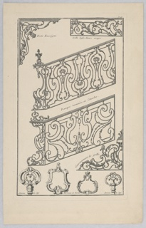 A variety of designs for ironwork including railings, gates, door knockers, and keys.