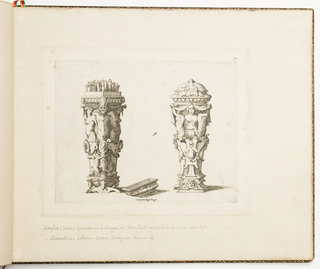 Fontainebleau school. Two designs for containers for cutlery. The container on the left is open, revealing the handles of cutlery, and is decorated with a satyr term between two females; the lid lies to the right.  The container at right is closed and is decorated with one female term between two male terms holding drapery. Both are adorned with pearls and have masks at the base. between two male terms holding a drapery. Both are adorned with gems and pearls.