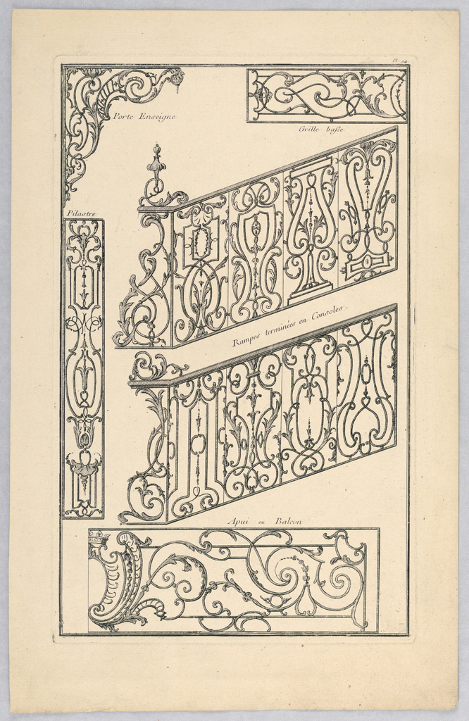 A variety of designs for ironwork including pilasters, door signs, and balconies.