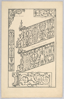 Print, Plate 94 from Divers dessins de balcons à plusieurs usages (Variety of Balcony Designs)