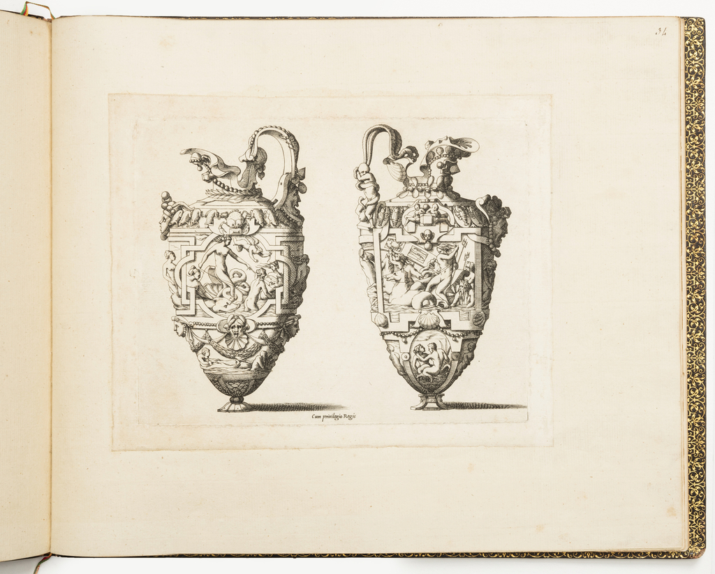 Fontainebleau school. Design for two ewers. On the left ewer, the Birth of Venus. On the right one, the Triumph of Neptune. Both are decorated with pearls, jewels and strapwork, crabs, frogs, lobsters, putti and grotesque masks.