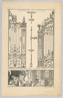 At center, detail of an espagnolette (locking device) between two ornamental iron gates. Below, a foundry scene enacted by putti.   Inscribed labels:  A) Espagnolettes por fermer les croisées B) Agraffes de l'Espagnolette  C) Main de l' Espagnolette D) Verouils de l' Espagnolette
