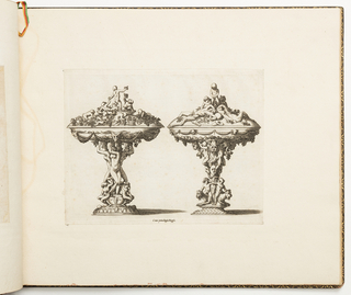 Fontainebleau school. Design for two covered cups. On the left, three nude women with twisting torsos, two putti at their feet, are holding up a bowl decorated with bucranium and garlands; below, a group of putti harvest and eat grapes. At right, a column of masks, lions and putti supports a cover showing two recumbent satyrs being urinated upon by a putto.
