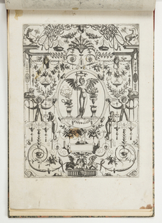 Grotesque panel. In center, ovoid shows winged figure standing between a smoking brazier and a vase of flowers.