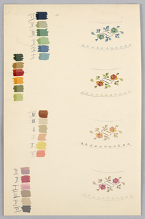 Drawing, Sheet of Plate Borders Showing Color Range