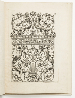 Vertical rectangle showing an escutcheon surrounded by scrollwork. Perched above is a rabbit flanked by grotesque figures. Above, symmetrical arabesques with dogs and fantastic figures.