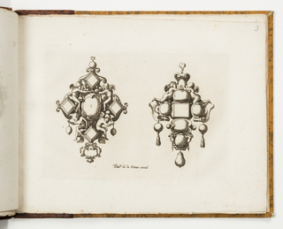 Design for two pendants. At left, four square gems surround a central oval. Above, a pair of putti face inward; below, a pair of putti face outward, holding drop gems. At right, four oval gems surround a central square. Above, two putti. Below, three drop pearls, the center is pear-shaped.