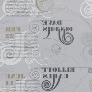 Transparent poster, untrimmed, printed in white, gold and black. Typography is elaborated with scrolls and flourishes.