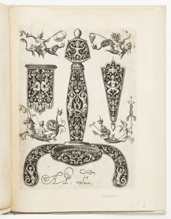 Print, Plate 3, from a series of designs for sword handles, pommels, and dagger hilts