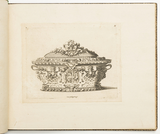 Fontainebleau school. Design for a metalwork tureen heavily decorated with strapwork, pearls, cherub heads, putti and garlands of fruit. In the middle, a medallion showing Jupiter and Mercury with Philemon and Baucis.