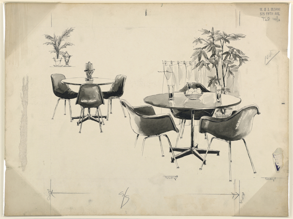 Table and molded chairs