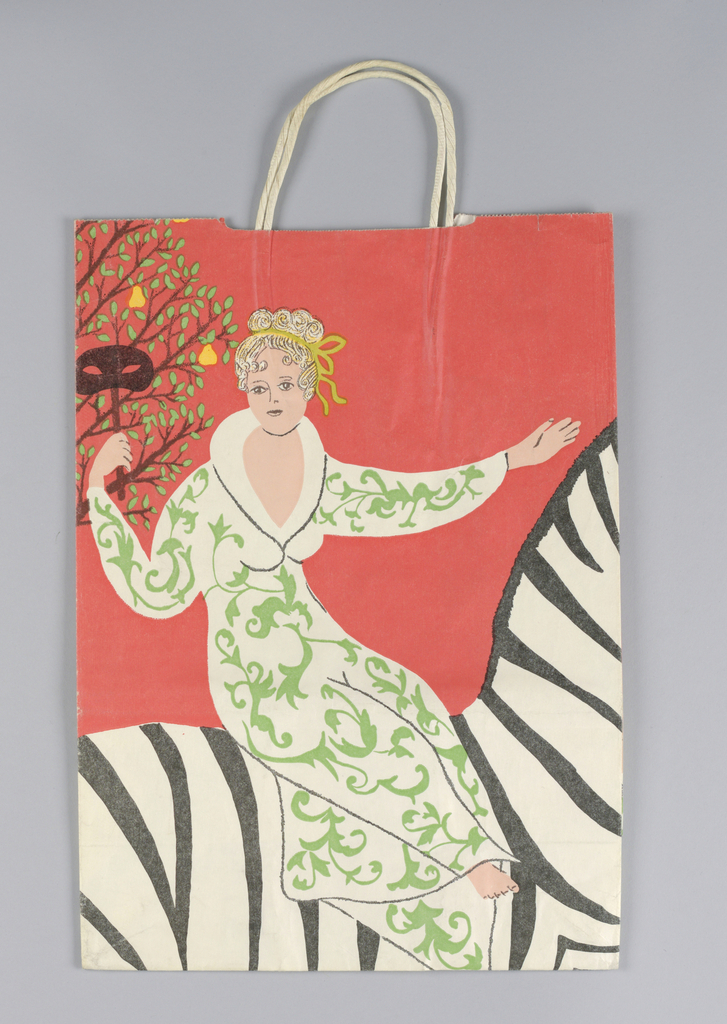 Manhattan street sign: Lexington/E. 59th One Way. Recto: Man in white jacket, walking. Verso:  Red background with woman in green and white dress riding zebra, continuing with zebra's head in right side panel. A partridge in a pear tree is in left side panel.