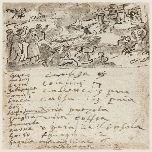 Vertical rectangle.  Top: Outdoor scene.  The cremation taking place in the center of the composition.  Figures seated and standing in foreground.  Bird flying upper left, another at the feet of the burning figure.  Bottom: Account listing.