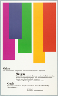 Upper 2/3 of page 5 color bands (rectangles) of differing lengths; colors (left to right): fuscia, blue, green, yellow, and orange.  Text blocks underneath in black describing vision, mission, and goals of IBM.