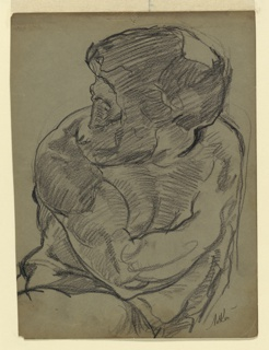 """Study for sculpture group. """"Day"""" seen frontally, with head turned to the left. Upper part only; drawn from a plaster cast."""