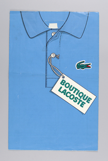 "Image of blue Lacoste polo shirt with trademark logo of green alligator.  ""BOUTIQUE/LACOSTE""  on illustration of tag attached to button of shirt."
