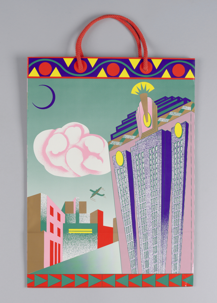 Image of Art Deco building with pink clouds and airplane.