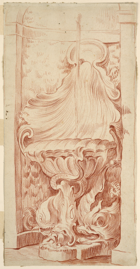Drawing, Design for Fountain in Niche