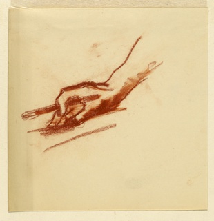 Study of a right hand and forearm, fingers holding a pencil or stylus, and resting lightly on a flat surface.