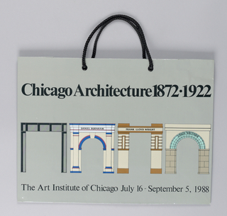 """Chicago Architecture, 1872 - 1992/ Art Institute of Chicago"" on gray background ; arches in full color.  designer: Stanley Tigerman, 1988"