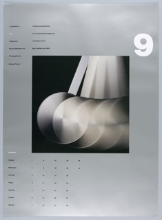 """On a silver ground, a central, square photograph of a silver pendulum in motion on a black background. Above, at right, a large, white, numberical """"9"""". At left, in two columns, """"A collection of / Time / Designed by / Danne & Blackburn Inc. / Photographed by / Michael Furman"""" // """"Printed and published by / S.D. Scott Printing Company Inc. / 145 Hudson Street / New York New York 10013."""" Below, at left, a calendar for the month of September organized by day of the week."""