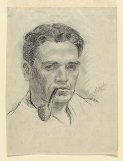 Head of the artist, seen turned slightly to the right, his gaze directed frontally. He is smoking a pipe.