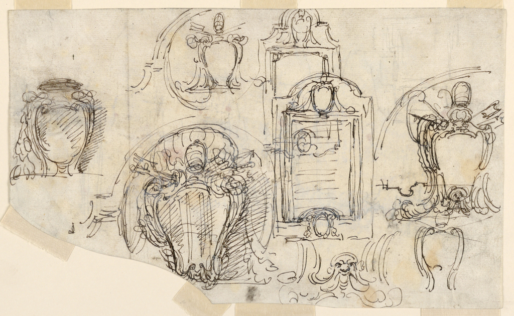 Two sketches of a tablet (on partly above the other), five sketches of escutcheons, one for a mask, below in the center of the papal escutcheon. One section of the frame. On verso: sketches for frame and probably for the location of the tablet on what appears to be the wall of a town.