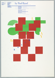 Poster depicts a geometric design composed of rounded and angular shapes that spell out the word, art. Across the design are the words: play and design.